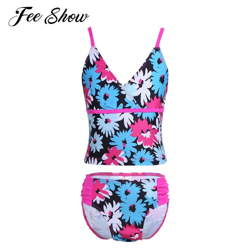 Feeshow 3 14 Years Girls Bikini Swimsuits Kids Teens Bathing Set Flower Pattern Halter -9457