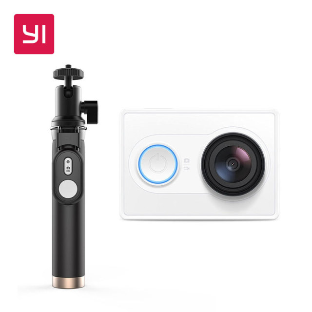 YI Action Camera 1080P White Selfie Stick Bundle 16MP Full HD 155 degree Ultra-wide Angle Sports Mini Camera