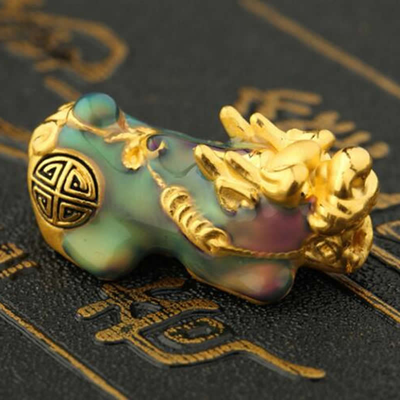 Puro 24 k Bracciale In Oro Giallo 3D 999 Oro Smalto di Disegno Pixiu Drago Figlio Braccialetto