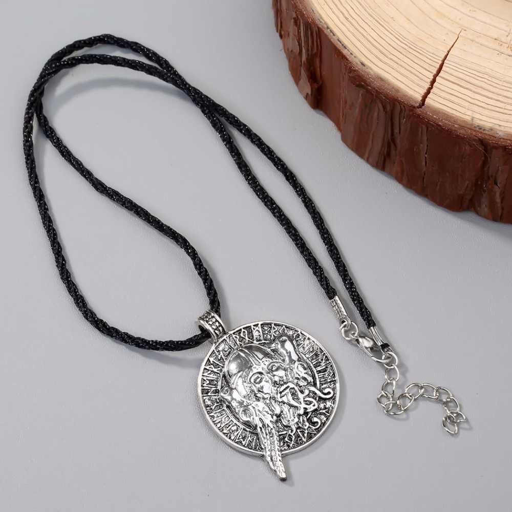 CHENGXUN legendarny mężczyźni naszyjnik irlandzki koło wisiorek ptak Raven z starych ludzi amulet Wikinga naszyjnik słowiańska pogańska biżuteria