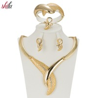 SHILU Best Quality Fashion Gold Plated Nigerian Wedding African Beads Jewelry Set Crystal Saudi Bracelet Earring