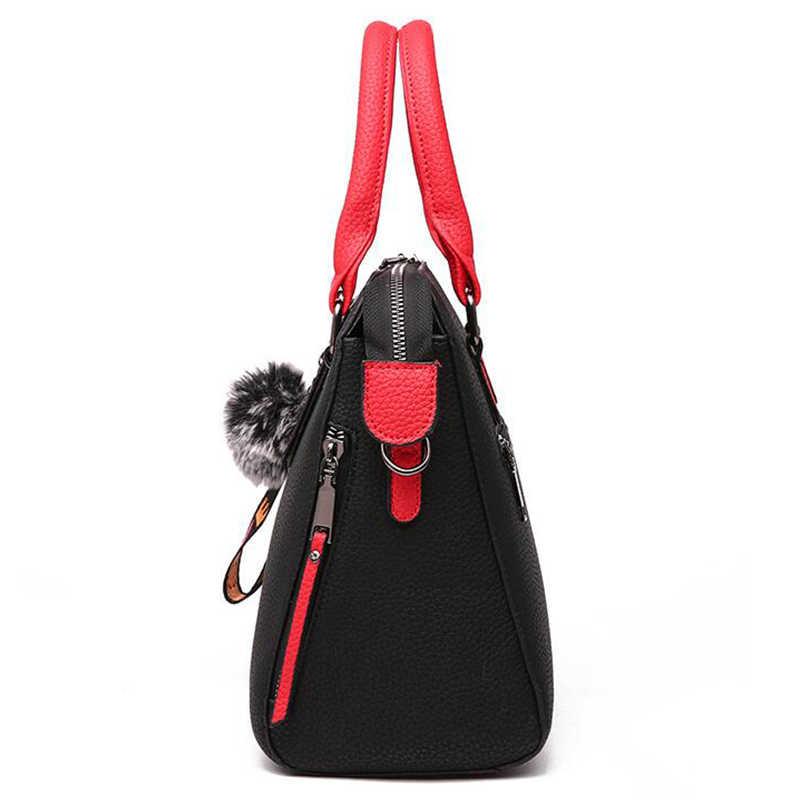 Женская сумка-мессенджер SMOOZA, из искусственной кожи, с меховым помпоном, через плечо, женская сумочка с клапаном, одноцветная сумка, 2019