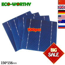 ECO-WORTHY 100pcs Solar Cell 4.3w Efficiency 156*156mm Polycrystalline Cell DIY Polycrystalline Silicon Solar Cell 6×6 Price