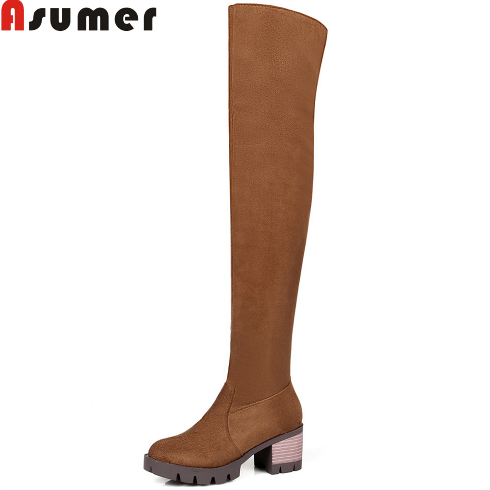 ASUMER 2018 fashion women boots round toe zipper ladies boots square heel flock black brown over the knee boots big size 33-46