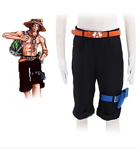 Anime One piece Portgas D Ace Cosplay costume pant belt breeches shorts
