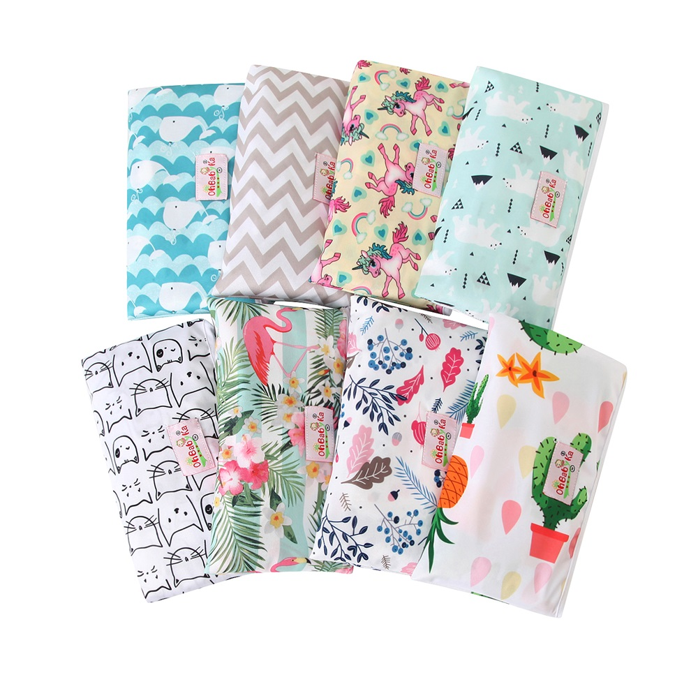 Diaper Changing Mat Portable Waterproof Changing Pad Cover 2019 Ohbabyka Brand Baby Diaper Changing Mat Reusable Wipes Cover