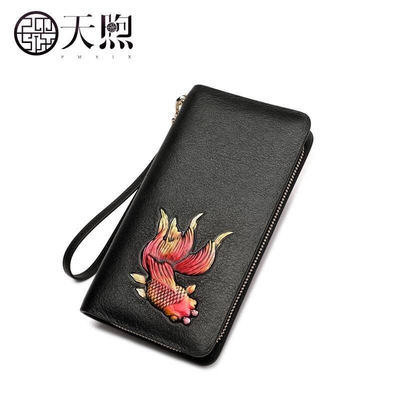 TMSIX New women Genuine Leather bag famous brands fashion Embossed Luxury Superior cowhide leather wallets women Clutch bag