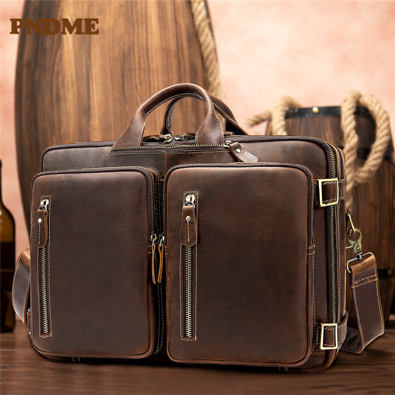 Large capacity vintage man mad-horse leather briefcase