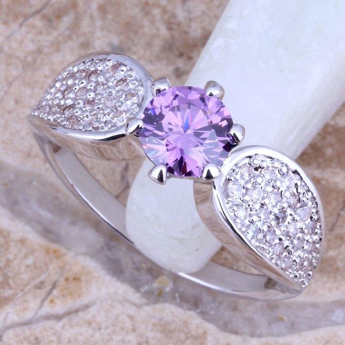 Retro exquisito púrpura zirconia cúbico blanco CZ plata tamaño de las  mujeres 6 7 8 9 E451 91f9e1c7669b