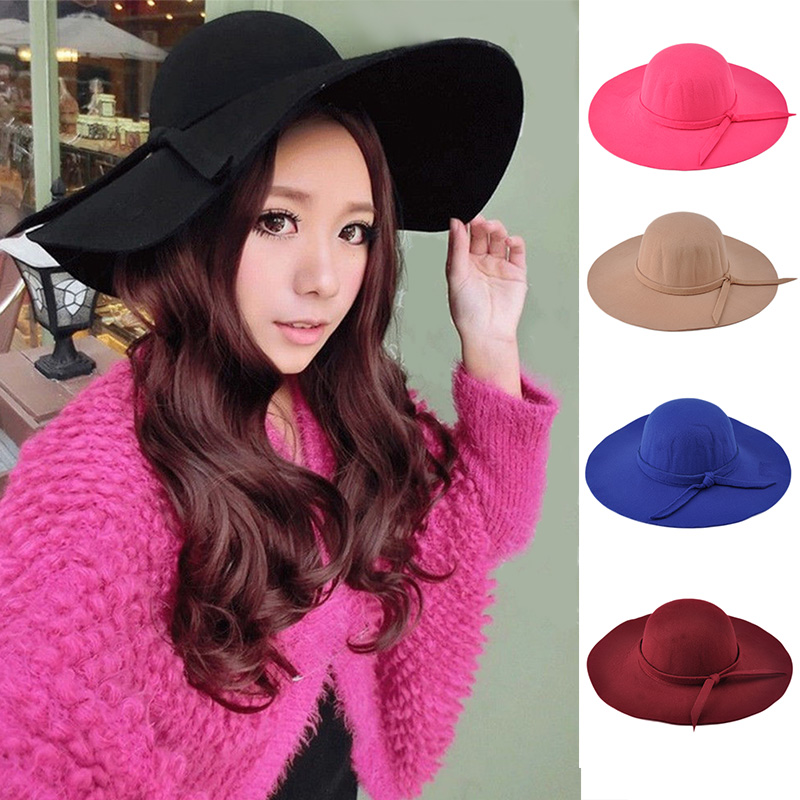 Vintage Women Lady Sun Visor Hat with Wide Brim Wool Bowler Fedora Hat Floppy Clothe Sun Beach Bowknot Cap