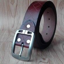 Vomint 2018 nuevas llegadas para hombre cinturones de cuero Pasadores  hebilla negocios cinturón ocio hebilla split cuero 130 cm . 03c6bb874f7