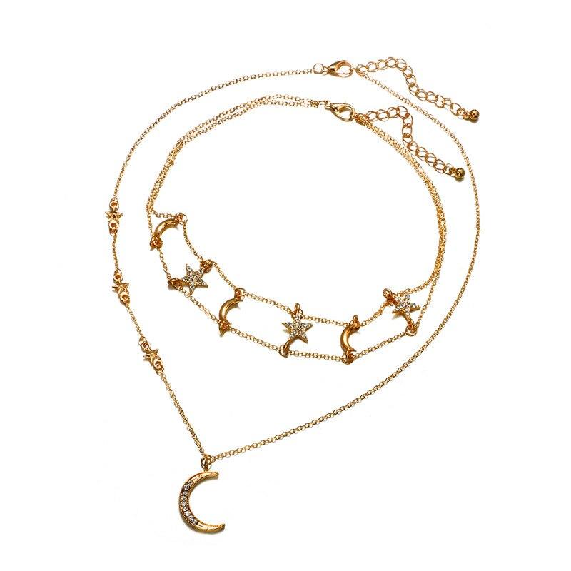 Multi-layer Boho Women Rhinestone Pendant Long Chain Bid Collar Choker Necklaces