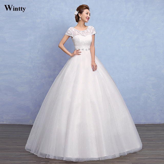 Wintty 2017 Simple High Low Lace Wedding Gown Embroidery Princess With Short Sleeve Floor Length Bridal