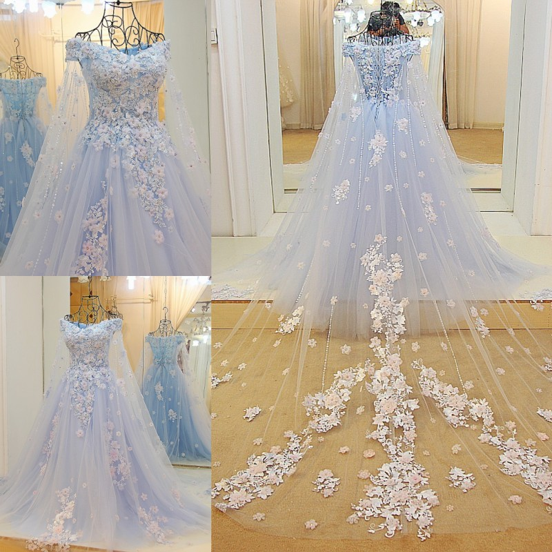 Most Beautiful Ball Gown Wedding Dresses: Blue Tulle Ball Gown Luxury Beaded Appliqued Formal
