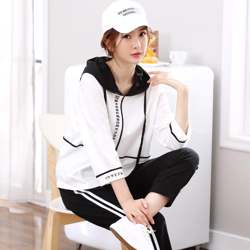 Yidanna Long Sleeved Sleep Clothing Cotton Sleepwear Female Nightie Casual Pyjama Autumn Plus Size Pajama Set Women Suit