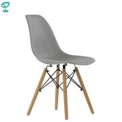 94990 Barneo N-12 пластиковый кухонный серый стул на деревянном основании интерьерный стул мебель для кухни стул столовый стул столовый стул кухон...