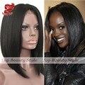 Venda quente dianteira do laço sintético perucas cheias do laço preto liso liso curto bob sem cola cabelo de seda natural em linha reta cabelo bob peruca para as mulheres
