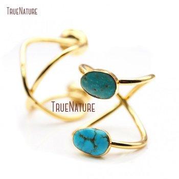 Double Gold Plateds Irregular Shape Ring Turquoises Stone Ring  RM18871