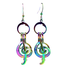 Rainbow Musical Note Earrings