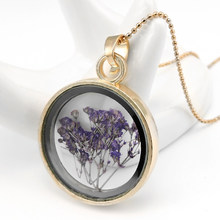 Crystal Dried Flower Necklace Natural Flowers Herbarium Pendant Necklaces 11 Nov(China)