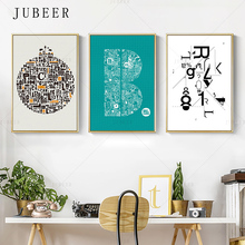 Nordic Style Canvas Painting Letter Poster And Prints Simple Wall Art Prints Wall Picture for Living Room Cuadros Decoration