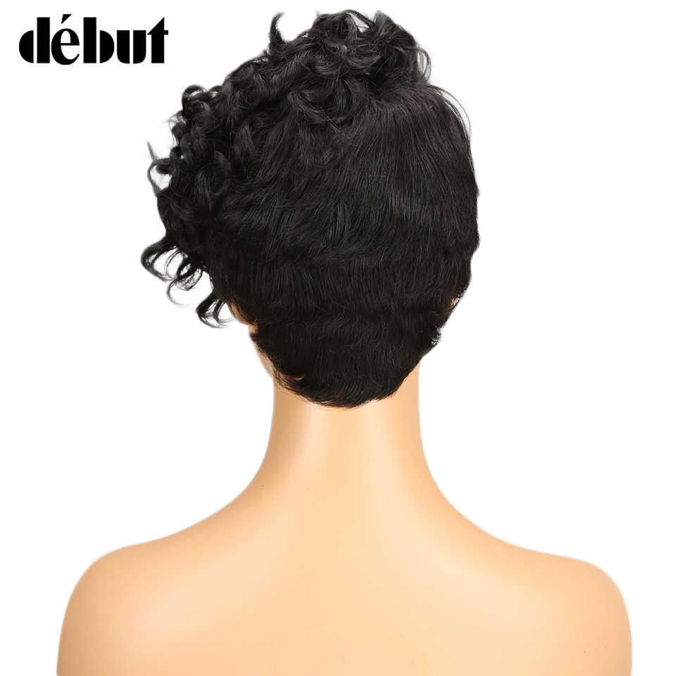 Pelucas de cabello humano corto con flequillo de fantasía ondulado rizado Peluca de pelo humano Remy pelucas humanas para mujeres negras envío gratis