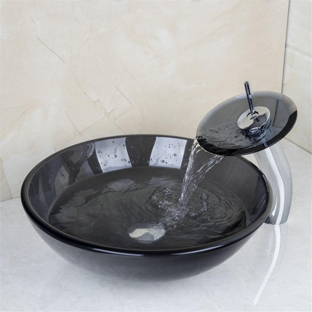 moderna de vidrio templado encimera lavabo del arte antiguo pintura de la mano lavabo lavabo bao