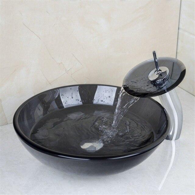 Moderne En Verre Trempé comptoir lavabo lavage de antique art ...