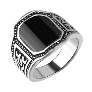 Кольца с эмалью мужские, стильные ювелирные украшения под старину, серебро, цвет черный