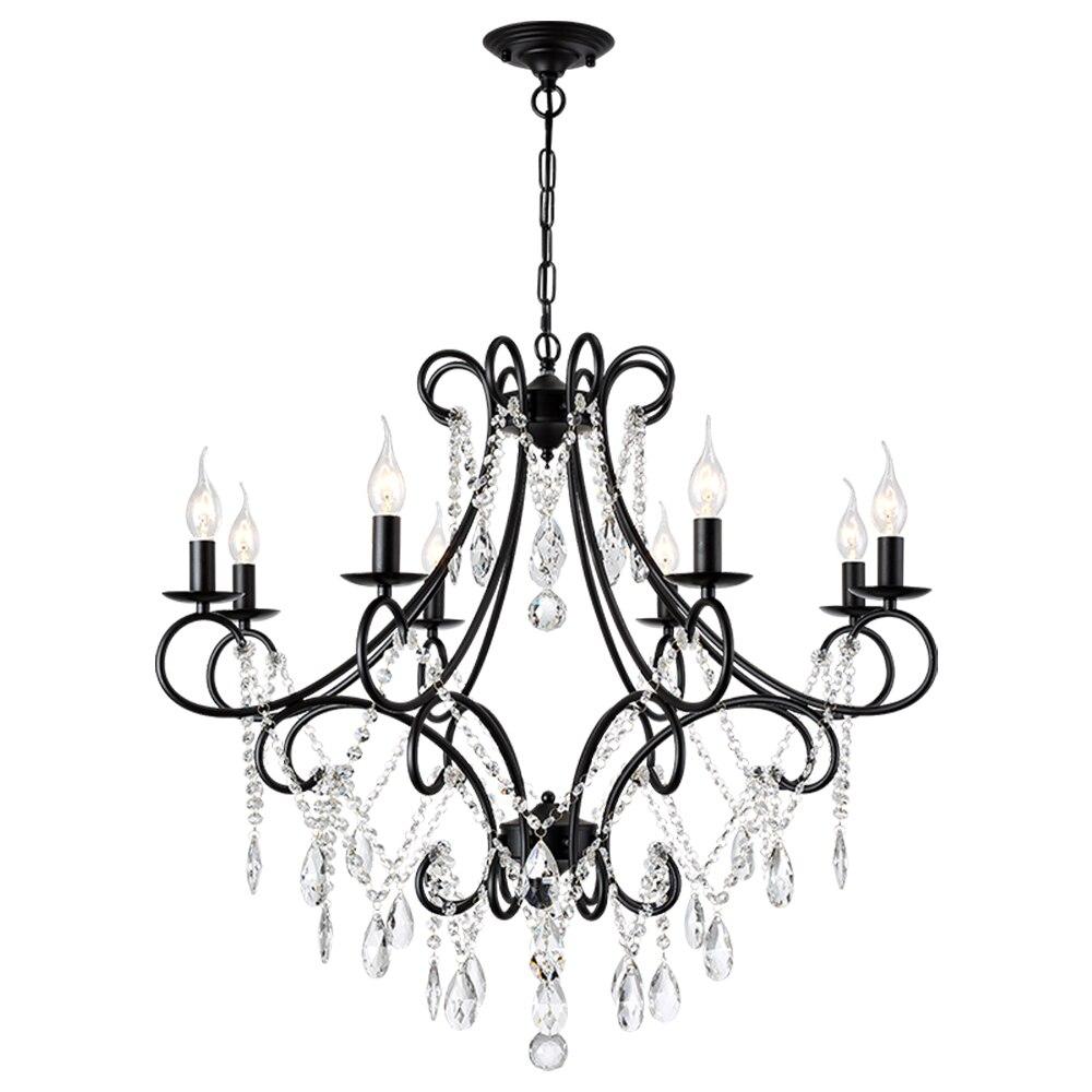 Luxe moderne or noir fer E14 Led K9 cristal lustre luminaires pour Loft escalier salon salle de bains maison lampeLuxe moderne or noir fer E14 Led K9 cristal lustre luminaires pour Loft escalier salon salle de bains maison lampe