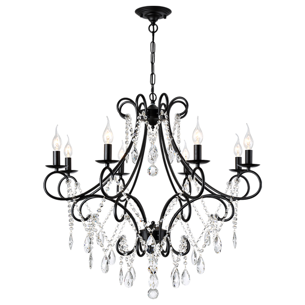 все цены на Luxury Modern Gold Black Iron E14 Led K9 Crystal Chandelier Lighting Fixtures for Loft Staircase Living Room Bathroom Home Lamp онлайн