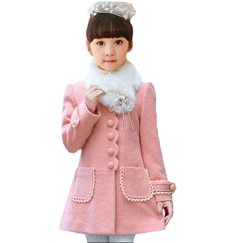 Winter Girl Wool Coat 2018 Korean Style Winter Kids Jacket Baby Girls Outfits Jacket Windbreaker For Girls Thick Woolen Coat