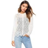 2018 Women Summer Blouses Lace Crochet Hollow Out Women Knitted Shirt Women Boho White Blouses Blusas Mujer Tops For Women
