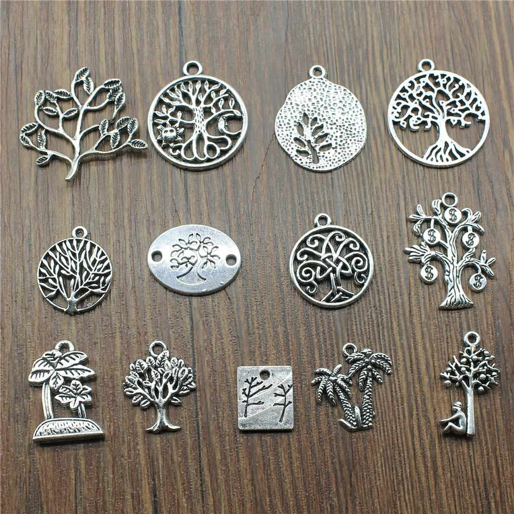 10pcs Tree Antique Silver Color Lucky Tree Pendant Charms Life Tree Charms Charms For Jewelry Making