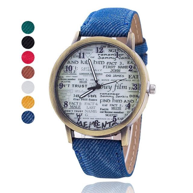 2018 NEW Vintage Jeans Men Newspaper Watch  Womenes Quartz Watch Antique Leather Relogio Feminino Casual Watches Lover Gift