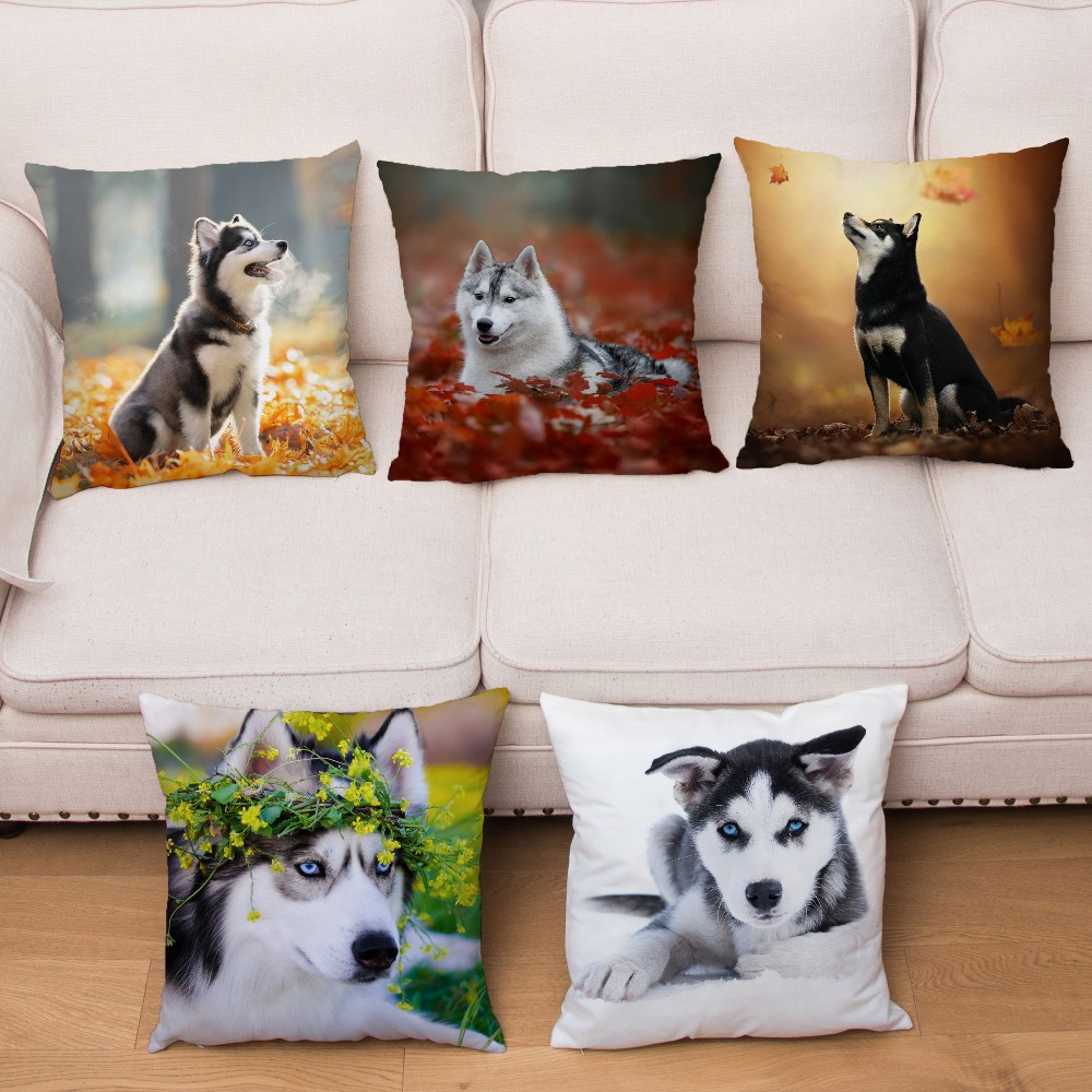 Super Soft Short Plush Cushion Cover HD Siberian Husky Dogs Print Pillow Covers 45*45 Throw Pillows Cases Home Decor Pillowcase