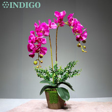 Flower Arrangment  Purple Orchids With Leaves Real Touch Wedding Party Fake Decorative Event Free Shipping