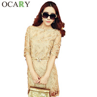 2014 New Spring Embroidery Women Summer Elegant Casual Lace Dress Sexy Golden Cocktail Wedding Party Dresses