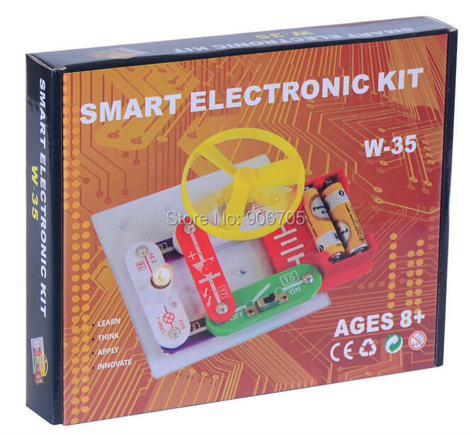 Circuits Electronic Educational Kit W-35 Educational toys,electronic building blocks Assembling Toys for Kids,35 Models to Build free shipping solar educational kit electronic building blocks w 9889 educational appliance toys for kids 1pc lot