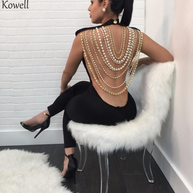 Kowell Pearl Chain Sexy Backless Jumpsuit Women Sleeveless Skinny Bodycon Rompers Women Party Overalls Casual Tassel Playsuits