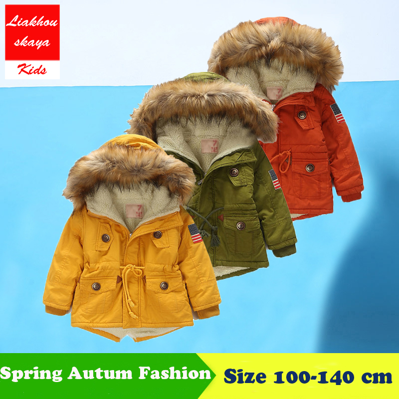 4-13Y Boys Winter Warm Coat And Jacket 2017 Autumn Winter Korean Boys USA Flag Hooded Coat Thick Cotton Warmer Kids Winter Coats 2016 autumn and winter fashion explosion models men s warm thick cotton korean slim casual jacket