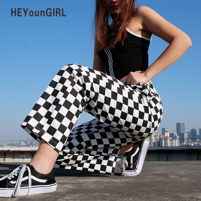 HEYounGIRL Plaid Pants Womens High Waist Checkered Straight Loose Sweat Pants Casual Fashion Trousers Pantalon Femme Sweatpants
