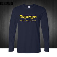 Classic TRIUMPH MOTORCYCLES T Shirt Men 100 Cotton Printed Long Sleeve O Neck Good Quality T