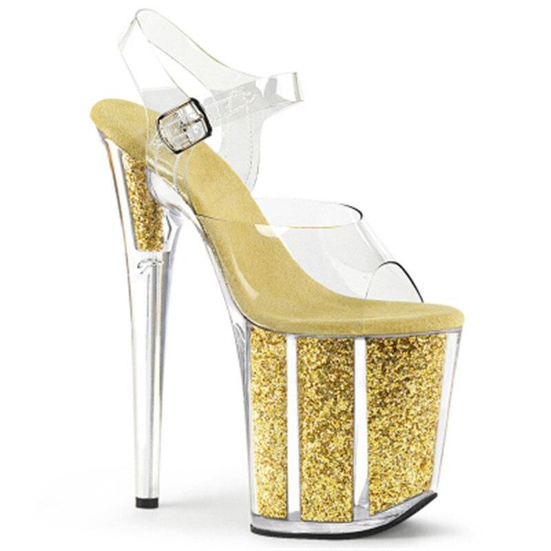 New summer style 20cm high heel sandals with thin heel waterproof platform crystal shoes dinner princess