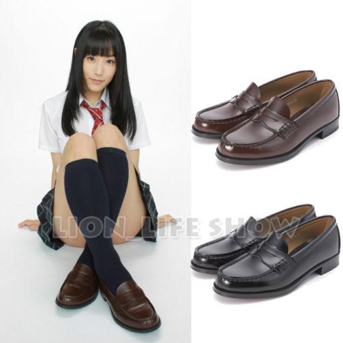 Universal Mujeres Japón Escuela Estudiante JK Cuero Suave Planos del Talón Bajo Zapatos de Cosplay Uniforme
