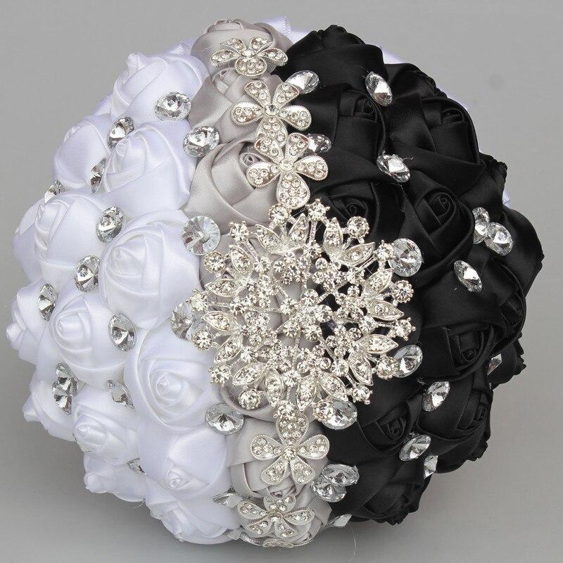 2ccb0e7a64f8a أسود أبيض الفضة الزهور الاصطناعية باقات الماس الكريستال الزواج الزفاف باقة  روز العروس باقة Ramo De Novia W244