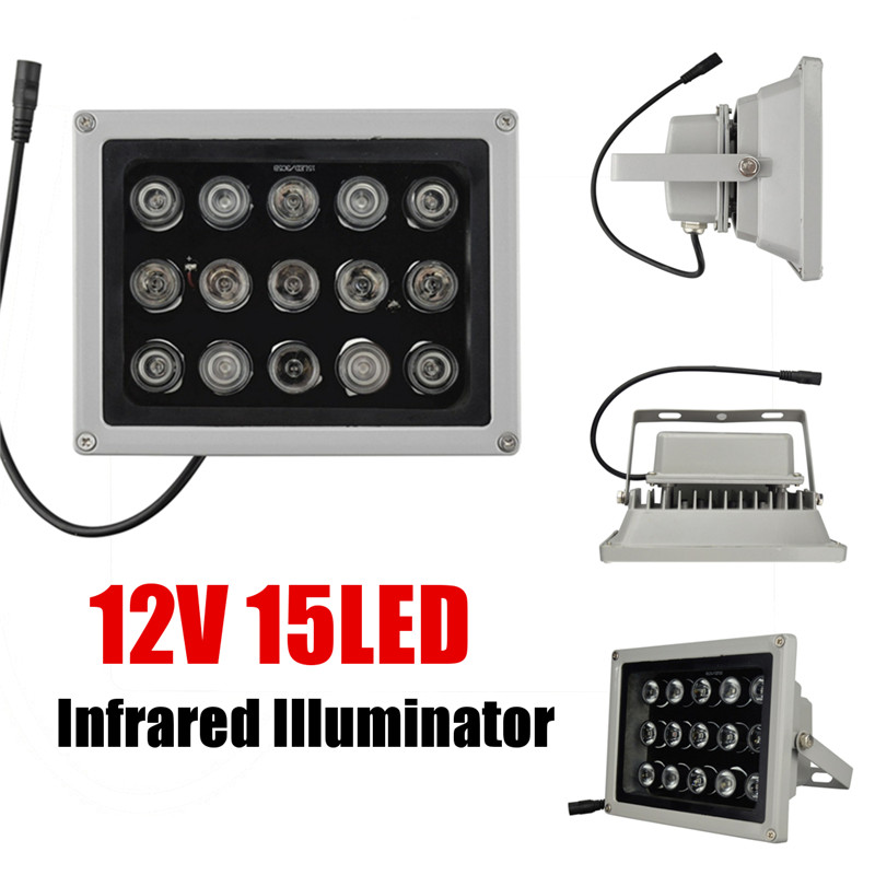 New 12V 15Pcs IR LEDs Array Light Led Infrared Lamp IP65 850nm Waterproof Night Vision for CCTV Camera Outdoor Waterproof Light cjwy 158 12v 48w 60 degree infrared array camera led light board black