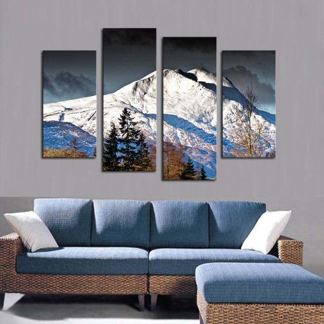 4PCS High Quality Painting Home Living Room Wall Decor Grand Mountain Chain  Print Oil Painting Canvas
