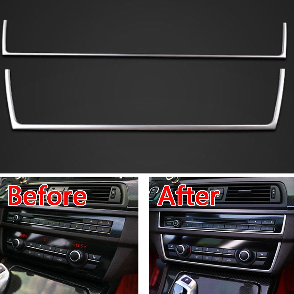 2Pcs Stainless Steel Car Interior Control Center Dashboard Switch Cover Trim Strip For BMW 5 Series F10 2011-2016 Car Styling chrome 3pcs interior head light lamp switch button cover trim for bmw 5 series f10 2011 2012 2013 2014 car styling