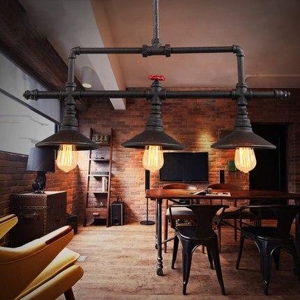 Conception de vent industriel peinture noire conduite d'eau 5 lustre créatif couleur rouille LED ampoule bricolage restaurant décoration E27 éclairage